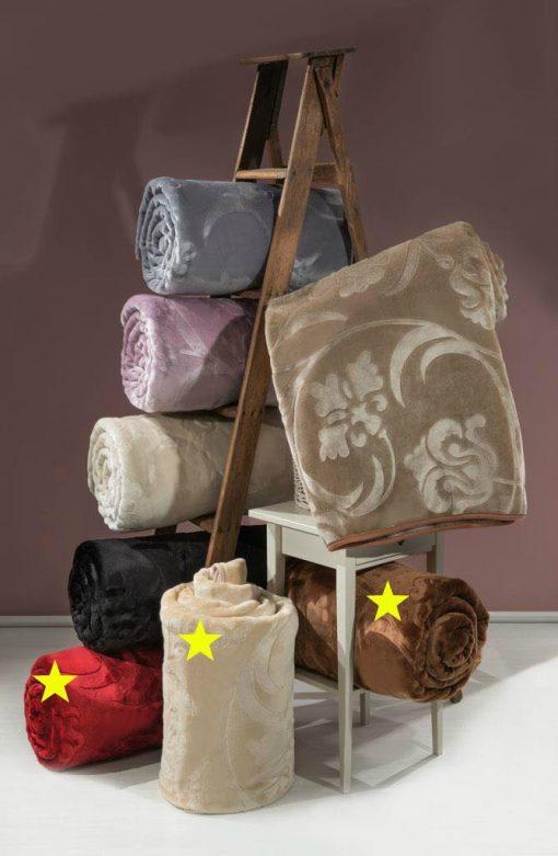 Κουβέρτα acrylic - art 619 - α) καφέ β) μπέζ γ) κόκκινο