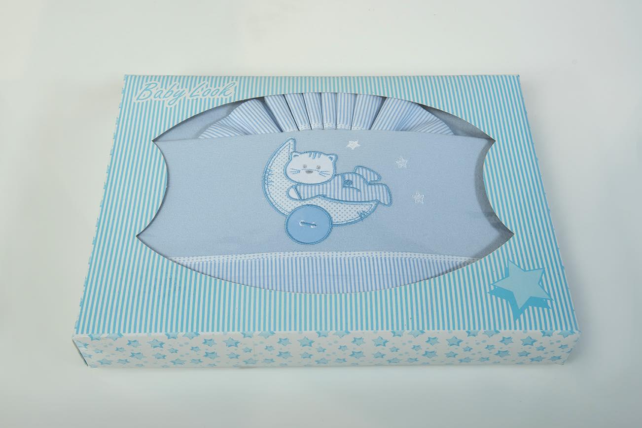 Σεντόνι φανέλα bebe set – 3 τεμ. με λάστιχο Γατάκι