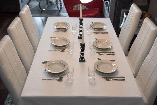 Τραπεζομάντηλο – Σειρά A' – Ζακάρ με αζούρ – Λευκό – Σε πολλά σχέδια –140x180 και 240x180 με ή χωρίς πετσέτες