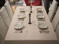 Τραπεζομάντηλο – Σειρά Λινοβάμβακο – Ζακάρ με αζούρ – Μπέζ– Σε πολλά σχέδια – 140x180 και 240x180 με ή χωρίς πετσέτες